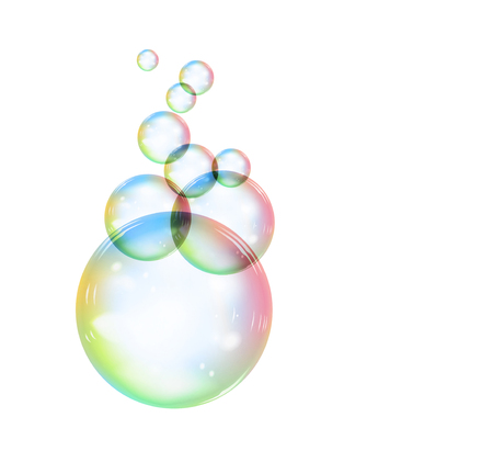 Rainbow soap bubble on a white background, on a transparent background. Realistic vector illustration Vectores