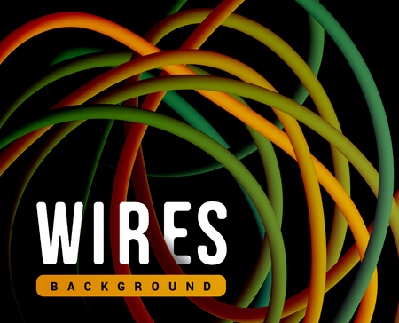 Electrical wires of different colors vector illustration. Illustration