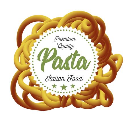 Pasta traditional dish of Italian cuisine vector illustration.