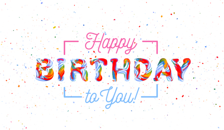 Colorful 3d text birthday