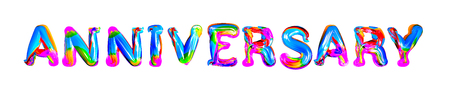 Colorful 3d text anniversary Vector illustration.
