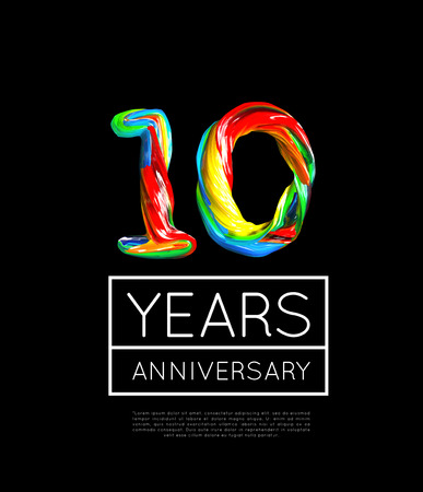 10th Anniversary, congratulation for company or person on black background