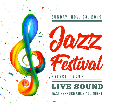 Jazz festival poster template with a treble clef and text on a white background. Vector illustration