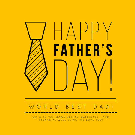 Happy fathers day. Congratulation in the fashionable style of minimalism with geometric shapes