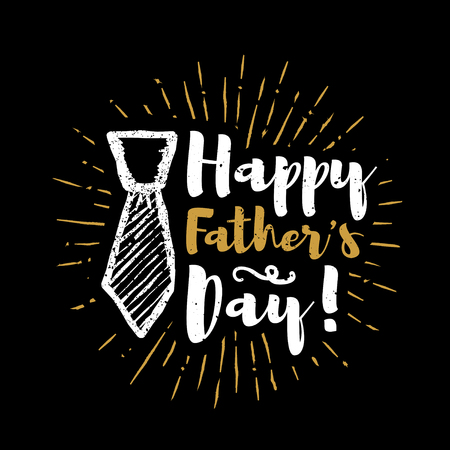 Happy fathers day lettering with sunbursts background. Vector illustration