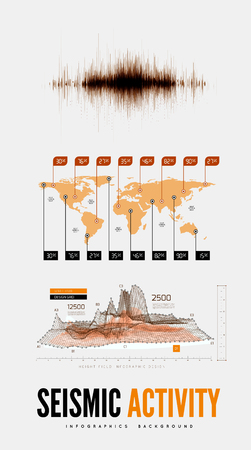 Seismic activity infographics vector illustration with sound waves, graphs and topological relief Illustration