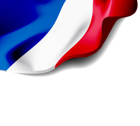 Waving flag of France close-up with shadow on white background. Vector illustration with copy space for your design
