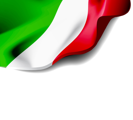 Waving flag of Italy close-up with shadow on white background. Vector illustration with copy space for your design Ilustração