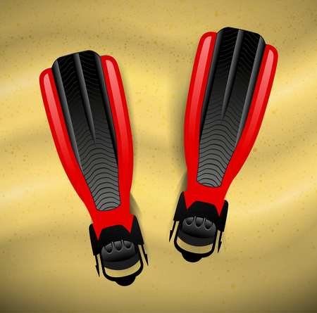 Swimming flippers on the sand. Vector