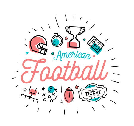 American football. Vector illustration in the style of thin lines with flat icons Vettoriali