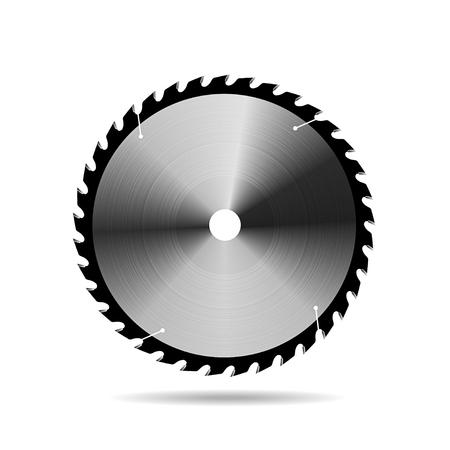 Hoja de sierra circular sobre fondo blanco. Ilustración de vector