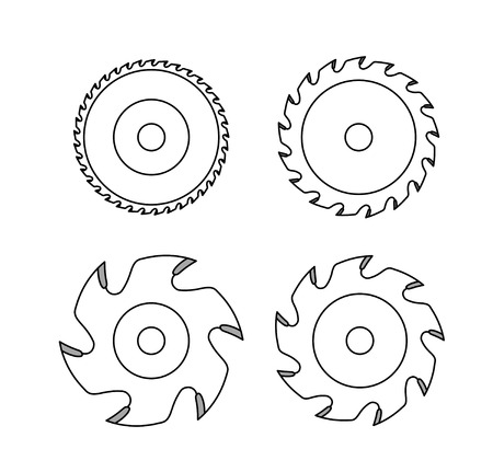 Circular saw blade on white background Vettoriali