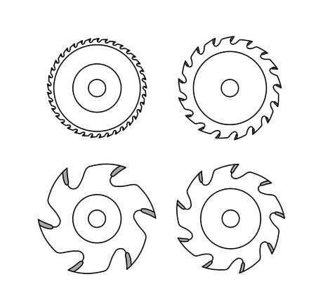Hoja de sierra circular sobre fondo blanco.