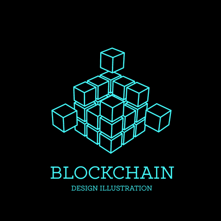 Blockchain vector illustration in the form of cubes. Block chain design. The concept of information transfer Illustration