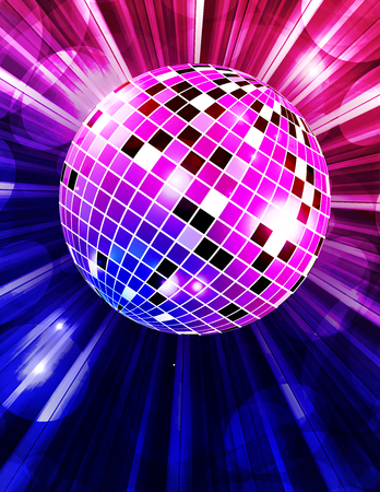 Disco party vector background with rays and disco ball. Vector illustration Illustration