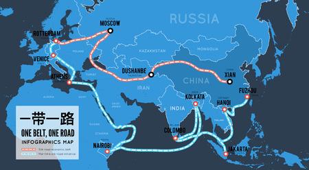 Una cintura una strada. Nuova via della seta commerciale cinese. Infografica mappa vettoriale Vettoriali