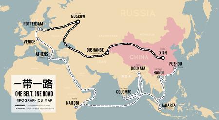 Un cinturón, un camino. Nueva ruta de la seda comercial china. Infografía de mapa vectorial