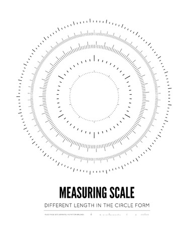 Measuring rulers of different scale, length and shape in the form of a circle. Vector illustration on white background Иллюстрация