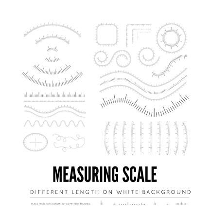 Measuring rulers of different scale, length and shape. Straight and curved shape. Vector illustration on white background Vettoriali