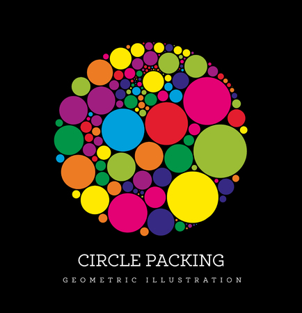Circle packing vector illustration. Circles are placed in such a way that they touch, but do not intersect. Illustration on black