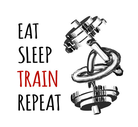 Motivational text for bodybuilding or fitness. Vector illustration with a barbell twisted into a knot. Eat sleep train repeat