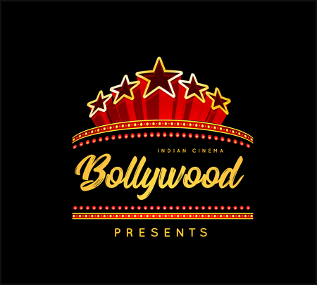 Bollywood is a traditional Indian movie. Vector illustration with marquee lights