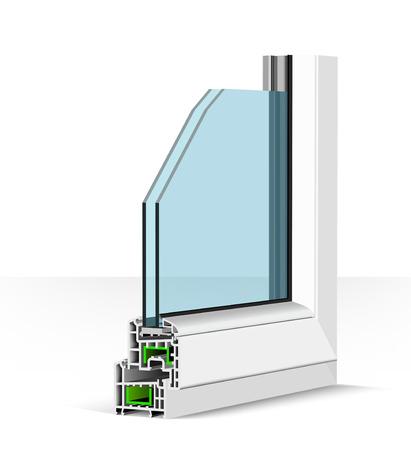 3D-Kunststofffensterprofil. Vektorillustration auf Weiß