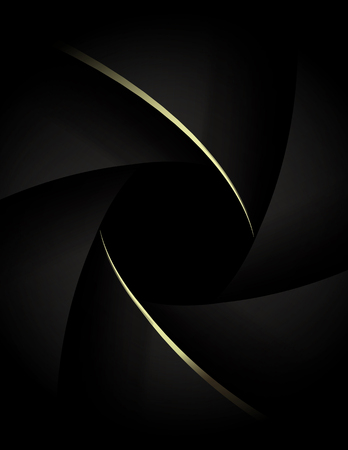 Camera lens close up with golden shutter blades. Wedding photography or videography concept. Gold on black Illustration