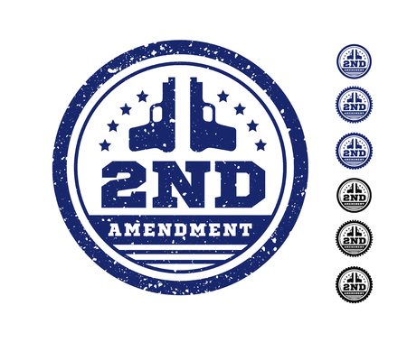Second Amendment to the US Constitution on the authorization to bear arms. Stamp, seal. Vector illustration