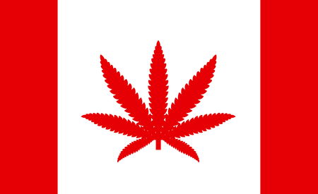 Flag of Canada with a leaf of marijuana, as the concept of permission to use medical marijuana in the country Stock Vector - 114661024