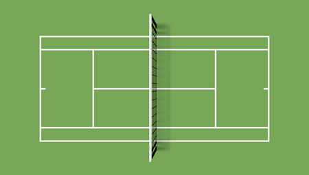 Tennis court. Grass cover field. Top view vector illustration with grid and shadow on green background