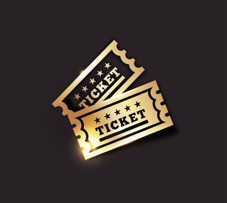 Vector Golden Vintage Ticket Icon on dark background. Gold on black design
