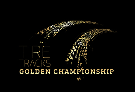 Golden Tire tracks. Vector illustration on dark background Иллюстрация