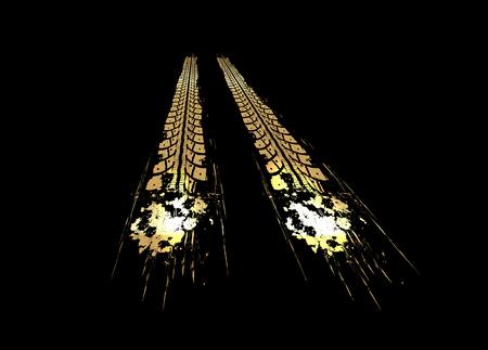 Golden tire tracks on dark background. Vector illustration