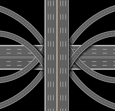 Car highway. The denouement of the many roads. Top view. Vector illustration
