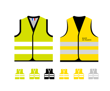Yellow and light green reflective vests, as a symbol of protests in France against rising fuel prices. Yellow jacket revolution. Vector illustration on white background