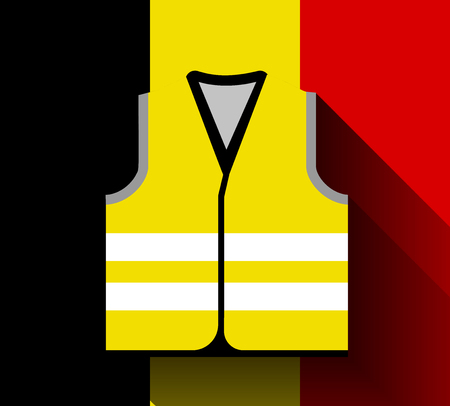 Yellow vests, as a symbol of protests in Belgium and France against rising fuel prices. Yellow jacket revolution. Vector illustration against the flag of Belgium with long shadow