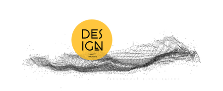 Big data connection. Geometric wave design. Vector illustration on white background