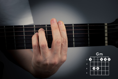 Guitar chord on a dark background. G Minor Chord. Gm tab fingering Reklamní fotografie