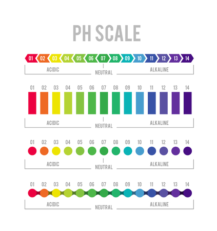 pH meter for measuring acid alkaline balance. Vector infographics in the circle form with pH scale on white background Vectores