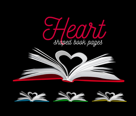 Heart from book pages. Vector illustration on black background