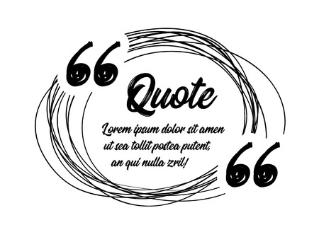 Drawn quotes and a frame to highlight the frame, quotes and other text in the article, or as a separate element. Vector illustration on white background