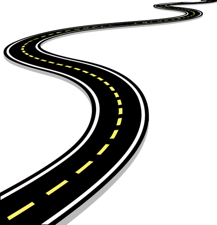 Leaving the highway, curved road with markings. 3D vector illustration on white background