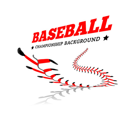 Baseball background. Lace from a baseball on a white. Vector