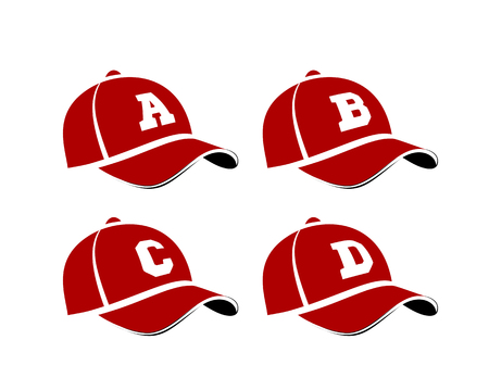 Baseball caps with capital letters of the alphabet, can be used as abbreviations player names or team names. Vector illustration on white Illustration