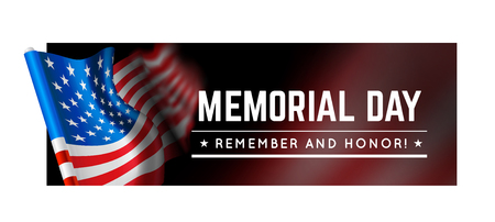 Memorial day vector illustration with waving flag of united states of america 矢量图像