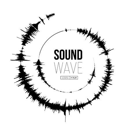 Sound wave spiral form. Vector illustration on white background Illustration