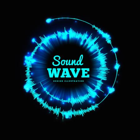 Sound wave spiral form. Vector illustration on black background