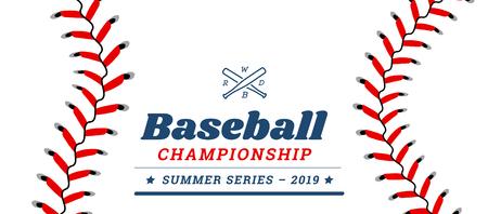 Baseballball-Textrahmen auf weißem Hintergrund.
