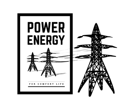 Power lines silhouette vector illustration isolated on white background